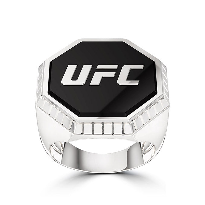 UFC Octagon Enamel Textured Frame Ring in Sterling Silver
