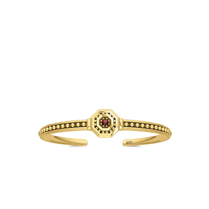 UFC Premium Octagon 14K Yellow Gold and Garnet Gemstone Cuff Bracelet