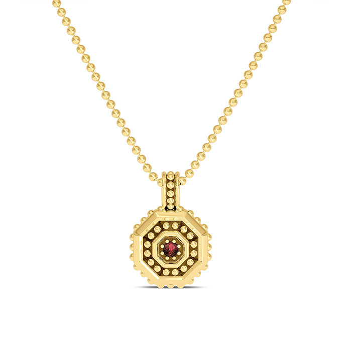 UFC Premium Octagon 14K Yellow Gold and Garnet Gemstone Pendant as seen on the UFC Octagon Girls