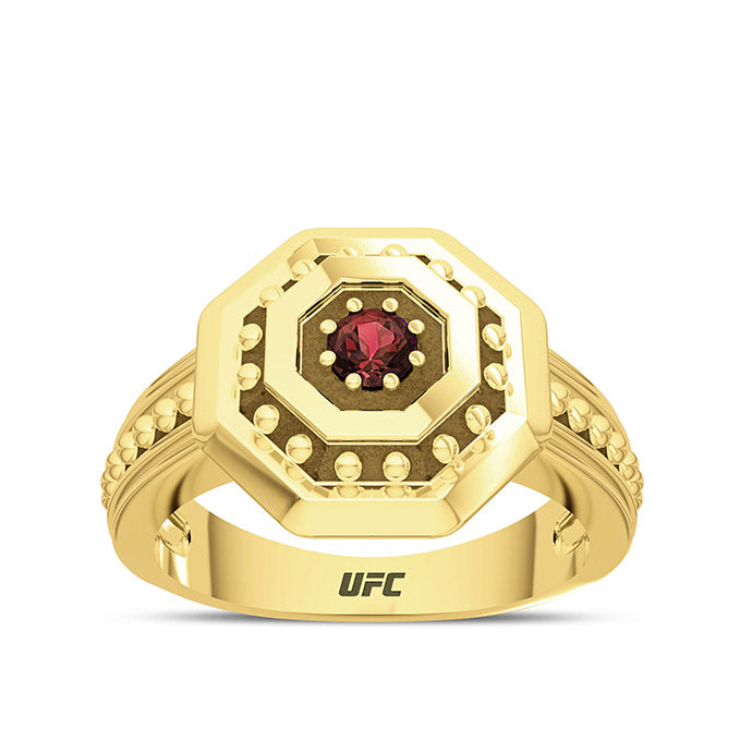 UFC Premium Octagon 14K Yellow Gold and Garnet Gemstone Ring