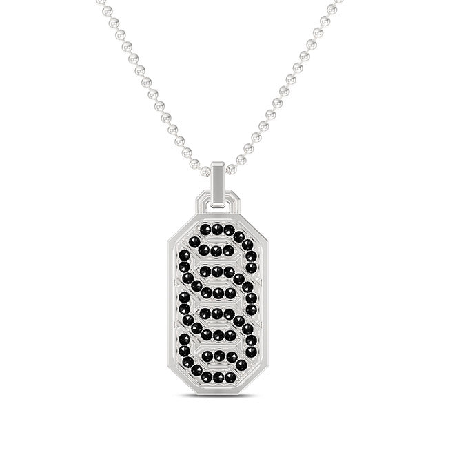 Deluxe UFC Octagon Black Diamond Dog Tag Necklace in Sterling Silver