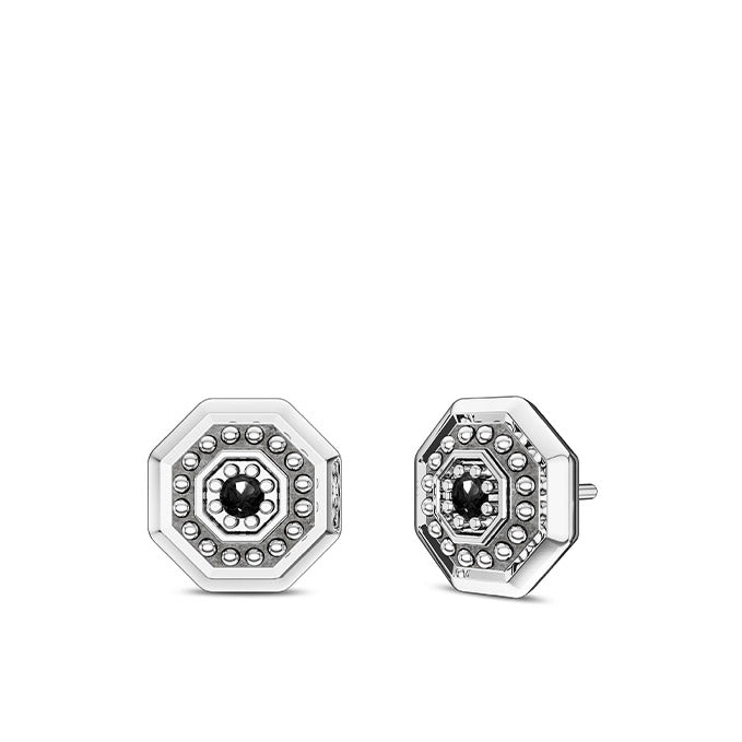 Deluxe UFC Octagon Black Diamond Earrings in Sterling Silver