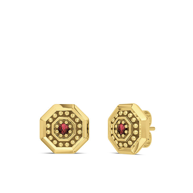UFC Premium Octagon 14K Yellow Gold and Garnet Gemstone Stud Earrings