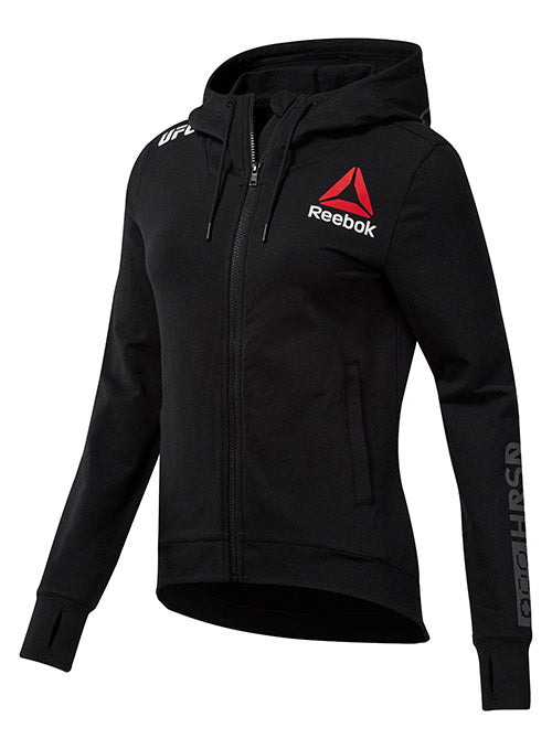 Women's Reebok Black UFC Fight Night Walkout Hoodie Replica