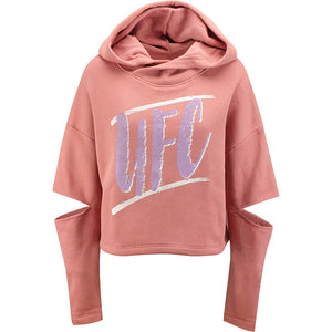 Women's Mauve UFC Cut-Sleeve Pullover Hooded Fleece