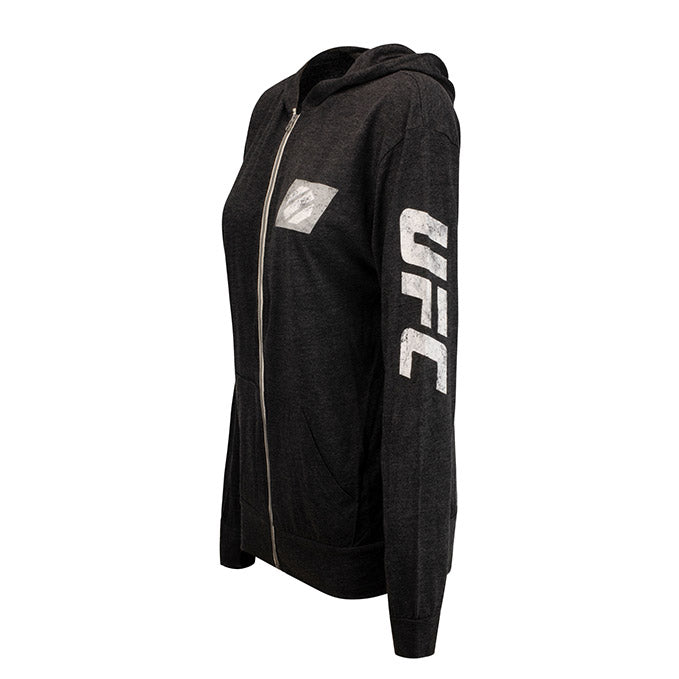 UFC Women's Full-Zip  Distressed Jacket- Charcoal