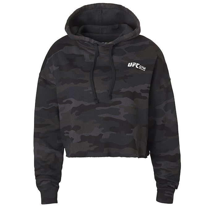UFC Gym Women's Black Camo Crop Hoodie