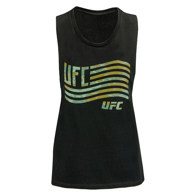 Women's UFC Camo Wavy Flag Muscle Tank Top