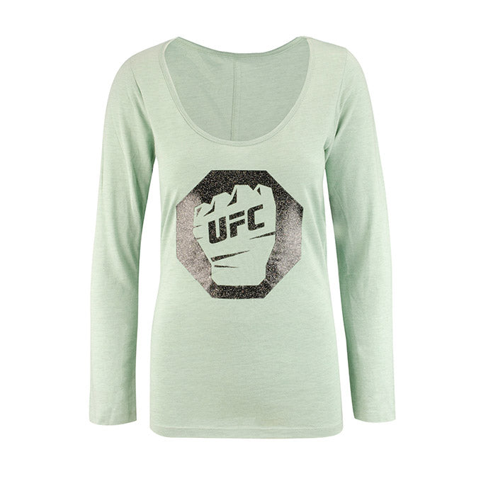 UFC Women's Glitter Scoop Long Sleeve T-Shirt - Seaglass Quartz