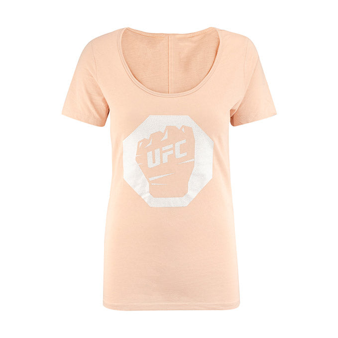 UFC Women's Glitter Scoop T-Shirt - Blush