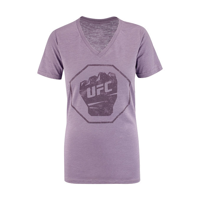 UFC Women's Distressed V-Neck - Vino