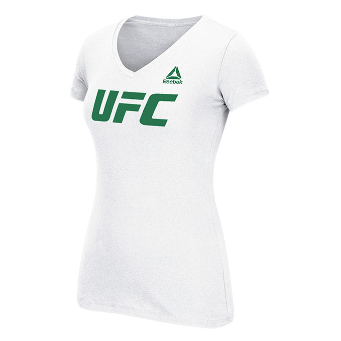 Women's UFC Reebok White Dual Blend Essential V-Neck T-Shirt