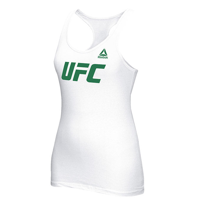Women's UFC Reebok White Essential Tri-Blend Racer Back Tank Top