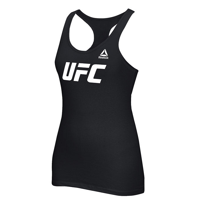 Women's UFC Reebok Black Essential Tri-Blend Racer Back Tank Top