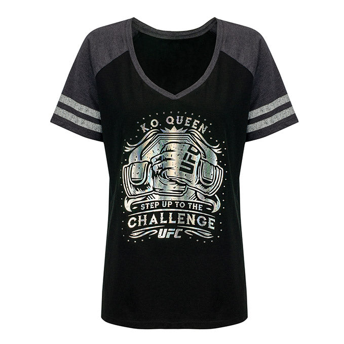 Women's UFC K.O. Queen Foil & Rhinestone T-Shirt - Black