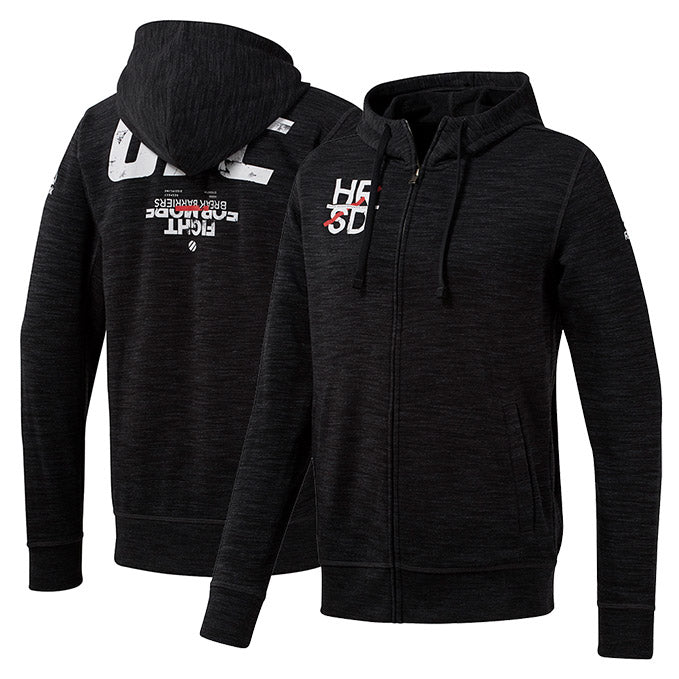 Reebok Black UFC Fan Gear Logo Full Zip Hoodie