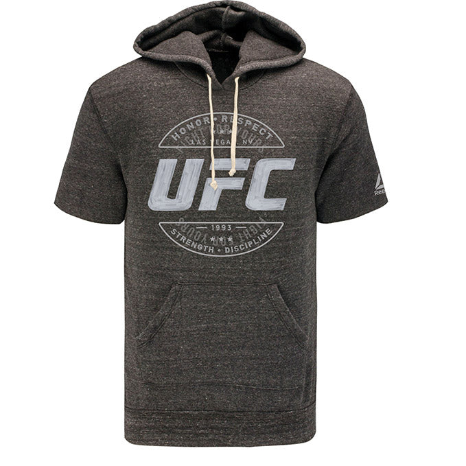 UFC Reebok Artist Series Short Sleeve Hoodie - Black Heather