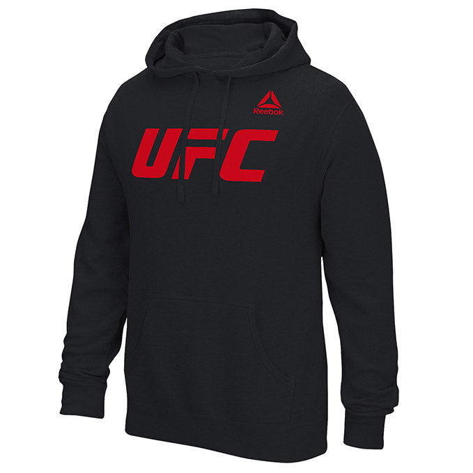 Men's UFC Reebok Black Essential Pullover Fleece Hoodie