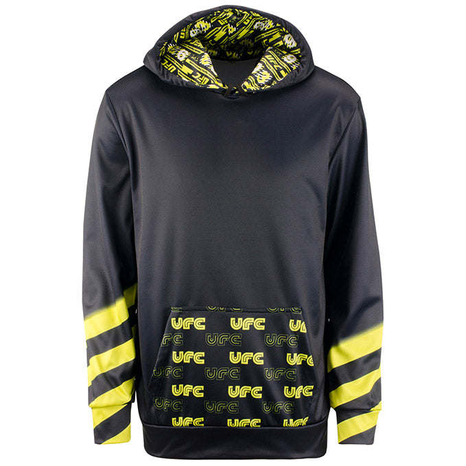 Men's UFC Geometric After Dark Caution Sublimated Hooded Sweatshirt - Black/Yellow