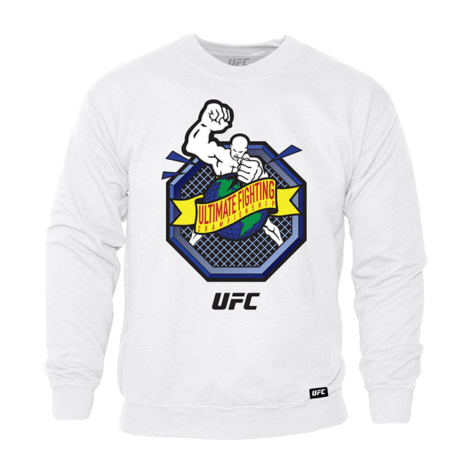 "UFC ""Ulti-Man"" Octagon Ultimate Fighting Championship White Crew Sweatshirt"