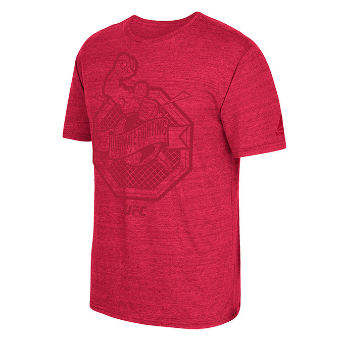 UFC Reebok Ultiman Octagon Tonal Red Heather T-Shirt