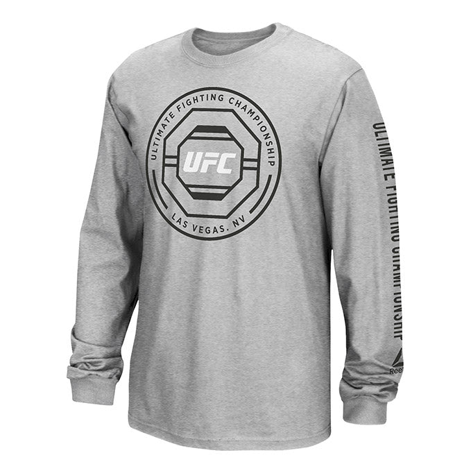 UFC Reebok Logo Octagon Puff Long Sleeve T-Shirt - Grey