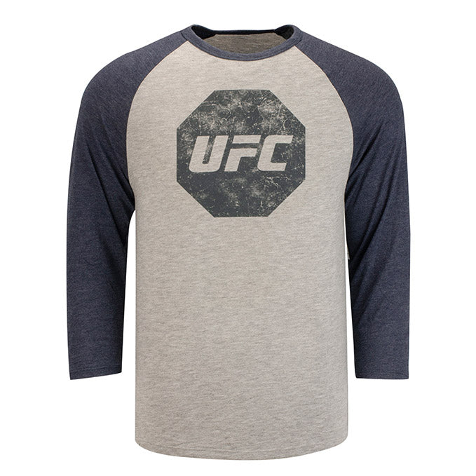 UFC Men's Distressed Raglan - Grey/Navy