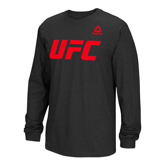 Men's UFC Reebok Black  Essential Long Sleeve T-Shirt