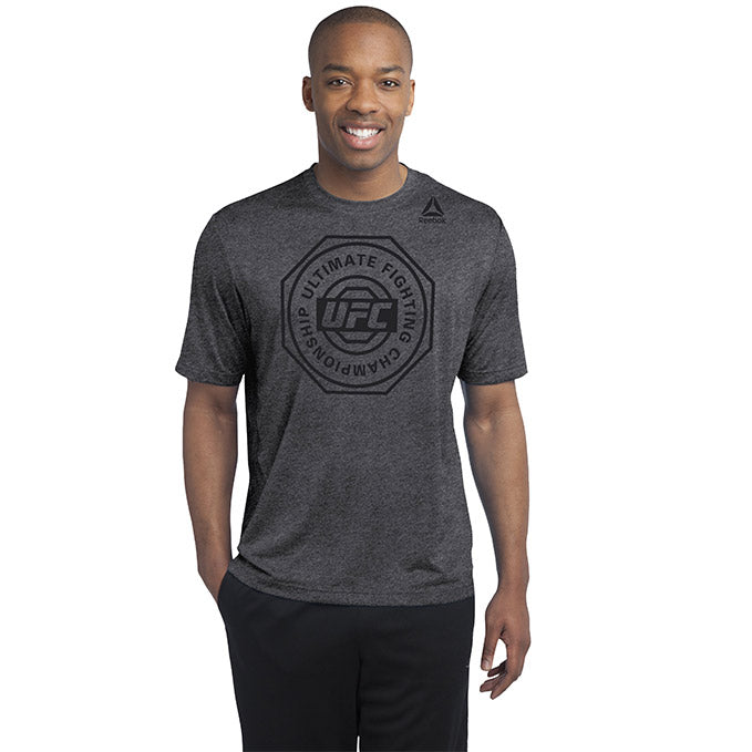 UFC Mens Reebok Ultimate Crew Performance Tee -Black/Heathered