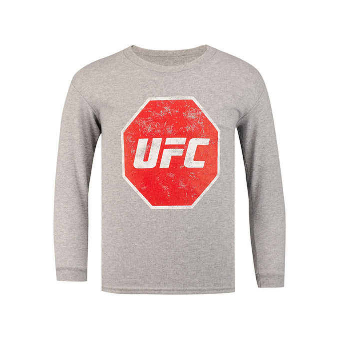 UFC Kids' Distressed Long Sleeve T-Shirt - Athletic Heather