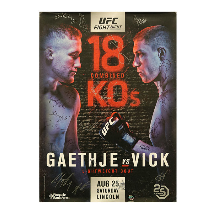 UFC Fight Night 135 - Lincoln (Gaethje vs. Vick) Autographed Event Poster