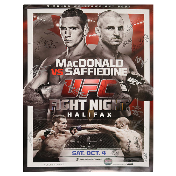 UFC Fight Night 54 - Halifax (MacDonald vs. Saffiedine) Autographed Event Poster