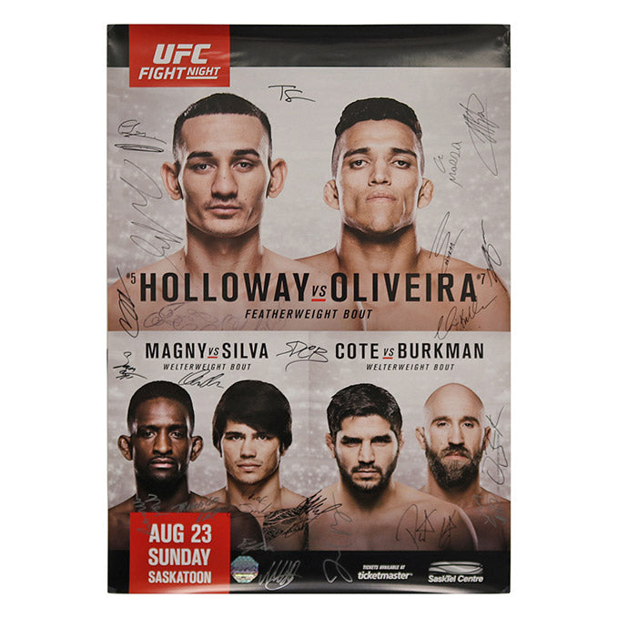 UFC Fight Night 74 - Saskatchewan (Holloway vs. Oliveira) Autographed Event Poster