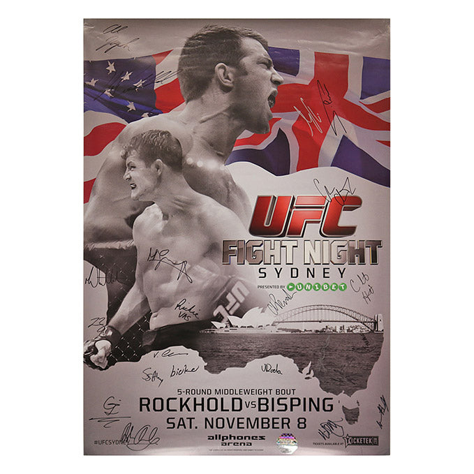UFC Fight Night 55 - Sydney (Rockhold vs. Bisping) Autographed Event Poster