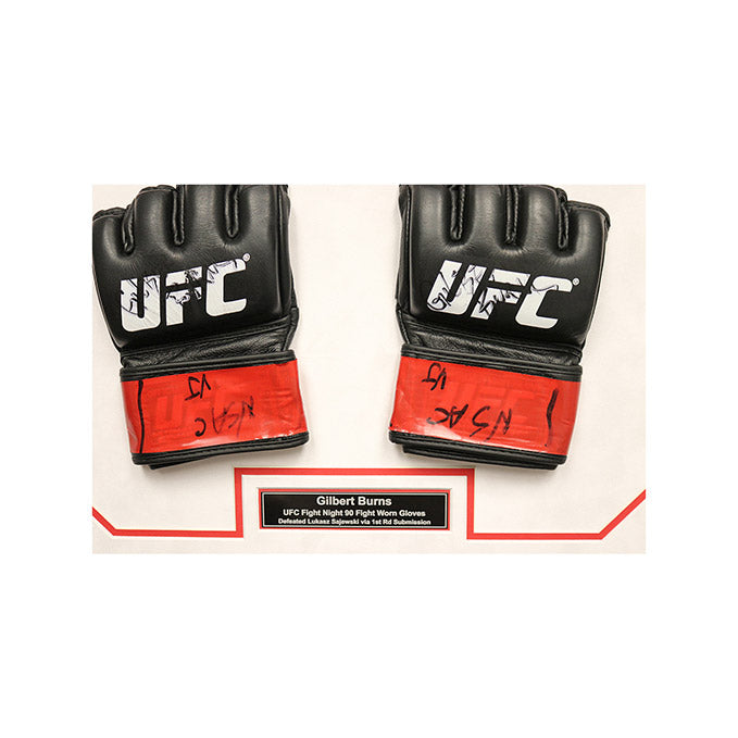 Gilbert Burns Autographed and Framed Fight Worn Gloves from UFC Fight Night 90 - Las Vegas