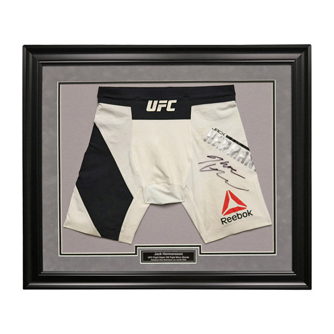 Jack Hermansson Autographed and Framed Fight Worn Shorts from UFC Fight Night 109 - Stockholm, Sweden