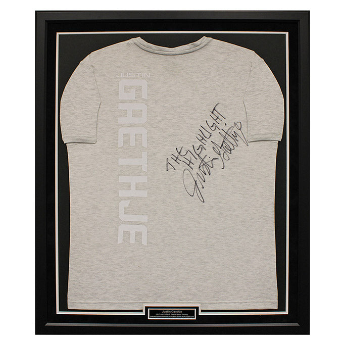 "Justin Gaethje Autographed, and inscribed ""The Highlight"",  Framed Event Worn Jersey from UFC on ESPN: Barboza vs. Gaethje in Philadelphia, Pennsylvania"