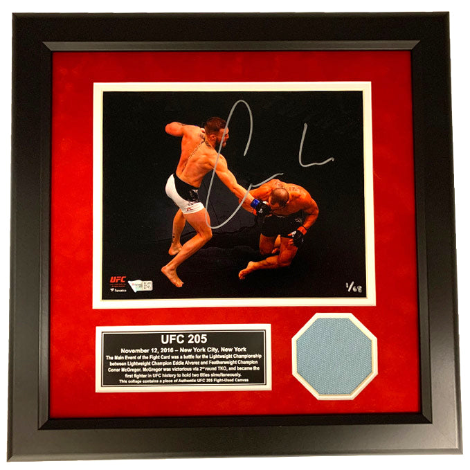 Conor McGregor Autographed UFC 205 Photograph and Fight Used Octagon Collage - Limited Edition of 68