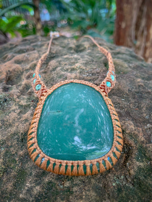 Green Aventurine and Turquoise Macrame