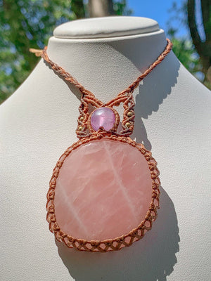 Rose Quartz with Amethyst & Brass Beads