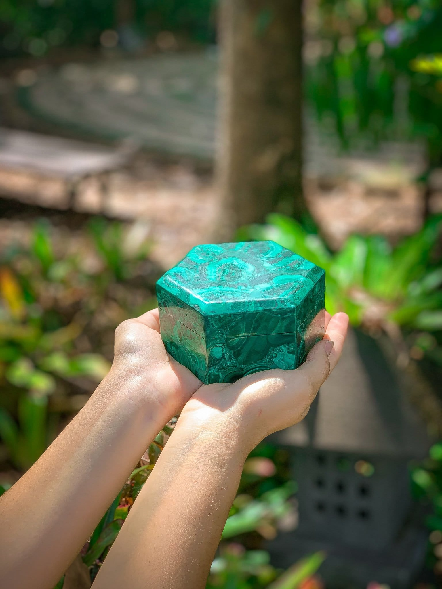 Transformative Hexagonal Malachite Box
