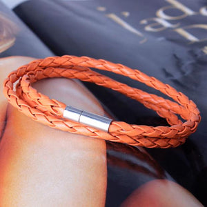 MVP$ Black Leather Interlaced Braid Bracelet - more coloursAccessories - Most Valuable Playa