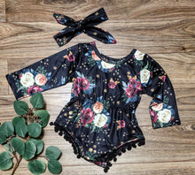 Load image into Gallery viewer, Black Floral Baby Romper