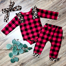Load image into Gallery viewer, Plaid + Leopard Romper Set