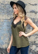 Load image into Gallery viewer, Olive Green Lace Tank
