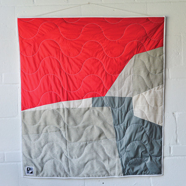 No. 112 - Baby blanket (crib size) quilted and wall hanging - Red and grey colors
