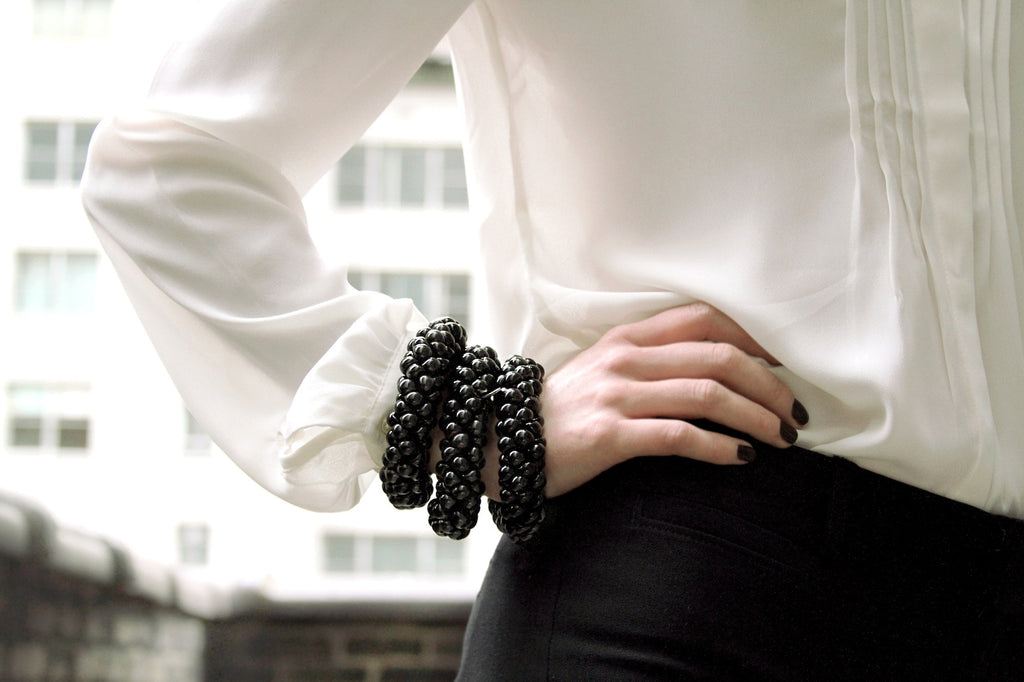 Neutral Sky Bracelets in Black Lacquer on model