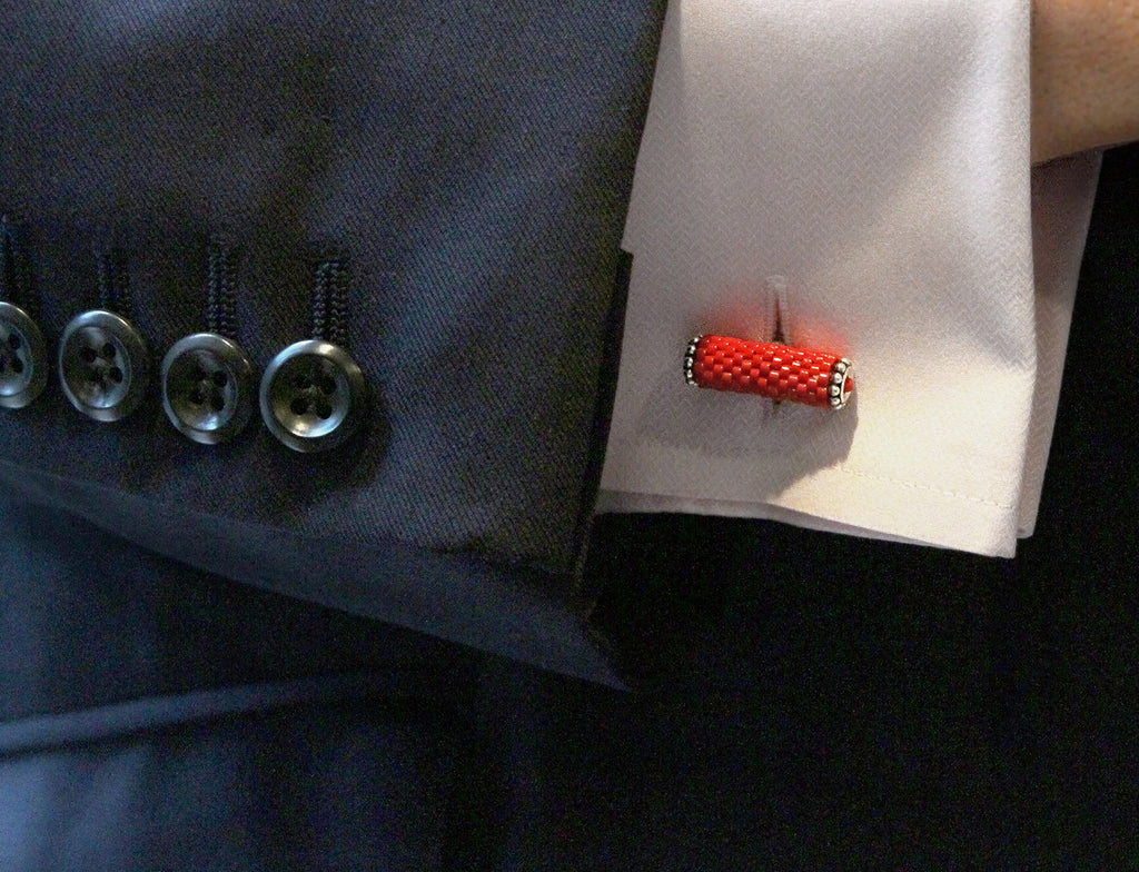 Faith Round Cuff Links in Cherry Red on model