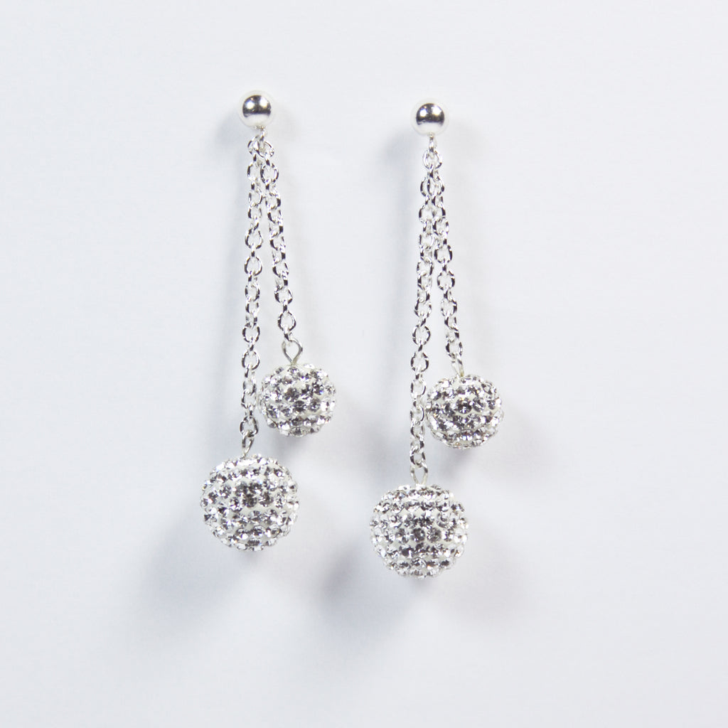 Black Tie Double Drop Pavé Earrings