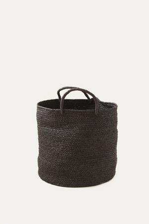 Medium Raffia Basket Black